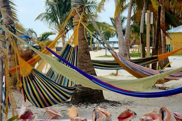 Travel hammocks are used at the beach